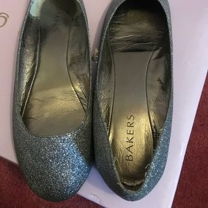 Sparkly silver flats